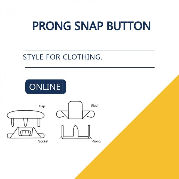 Capped Prong Snap Button For Denim Shirts & Blouses , Brass Engraved Bulk Buttons