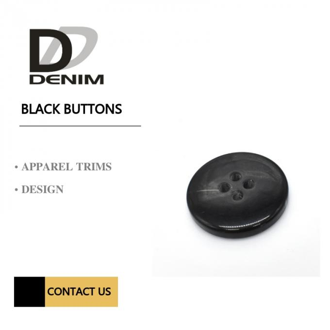 Black Simple Marble Bulk Buttons Collection Online 4 Hole Concaved Polyester Button