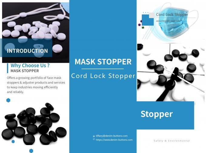 Black Plastic Cord Stopper For Masks Adjusted Size European