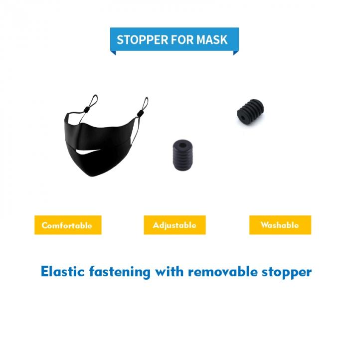 Black Color Plastic Cord Lock Stopper For Adjusted Face Mask Size