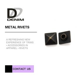 China Square / Round Decorative Brass Rivets For Jeans Trousers & Cargo Pants Embossed Logos Small Size factory