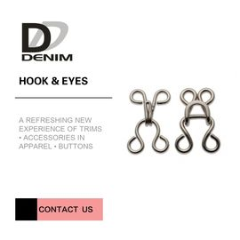 8mm Brass Hook And Eye Non Slip Nickel Free For Dress / BRA / Trousers