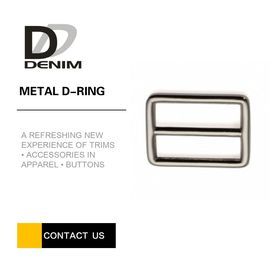Shiny Black Nickel Zinc Alloy Double D Ring Metal Slide Buckles Good Wear Resistance