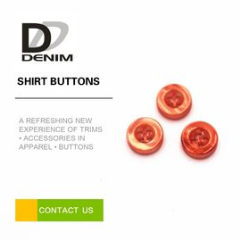 China Fashion Spring Dress Shirt Buttons , Orange Girls 4 Hole Plastic Button factory