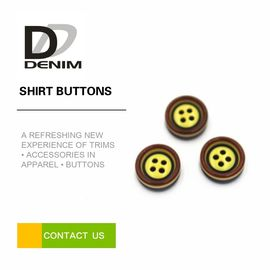 China Yellow Pearl Dress Shirt Buttons , Commercial Four Hole Button In Bulk factory