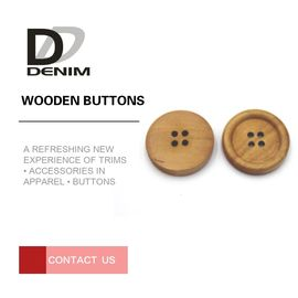 4 Holes Nature Wooden Buttons With Personalized Logo Raised Edge Lightweight Overcoat
