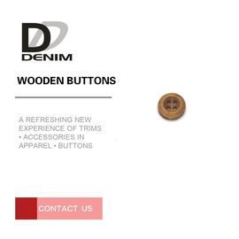 Decorative Wooden Bulk Buttons 4 Holes Natural Eco-Friendly