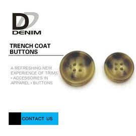 China Big Size Bright Color Bulk Trench Plastic Horn Coat Buttons High Wear Resistance With Sewing Hole factory