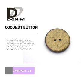 Natural Coconut Wood Buttons 16L 2 / 4 HOLES Environmental Friendly With Raised Edge