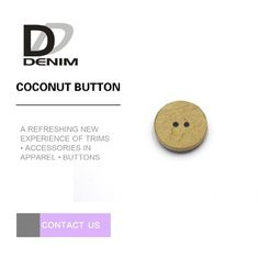Flat Portable Natural Coconut Shell Buttons Two Holes With Ironing Resistance