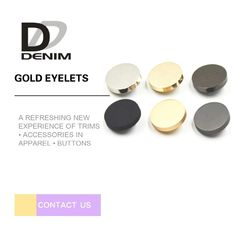 Fashion Gold & Gunmetal Shank Buttons • Metal Buttons • Clothing Buttons • Sewing Buttons • Synthetic Buttons