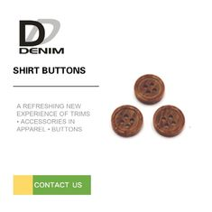 China DTM Fake Wooden Dress Shirt Buttons Four Holes With Dark Brown Color factory