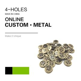 Custom 4 Holes Metal Clothing Buttons Antique Brass Color Bulk Fashion Apparel