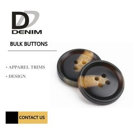 Four Holes Sleeve Buttons Brown & Black Color Plastic / Polyester