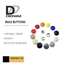 Metal Shiny Lacquer Buttons And Snaps 4 Parts Painted Color DTM Fabric