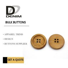 4 Holes Nature Wooden Buttons With Personalized Logo Raised Edge Light Weight Overcoat