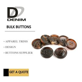 China Shiny Matt Black Brown Bulk Sewing Buttons Sourcing 4 Holes With Pattern Design factory