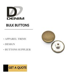 China Antique Brass Denim Metal Buttons Bulk Fashion Snap Buttons For Clothing Jeans Trousers factory