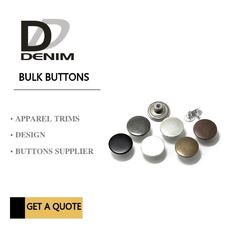 Shank Denim Metal Buttons Dull Dark Anti Copper Nickel Free With Print Logo