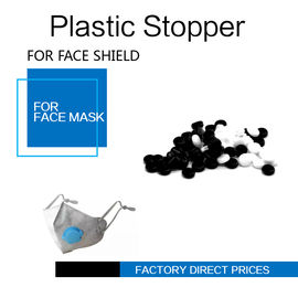 Face Masks Stopper Plastic Cord Stopper Black & White Color Soft PVC supplier