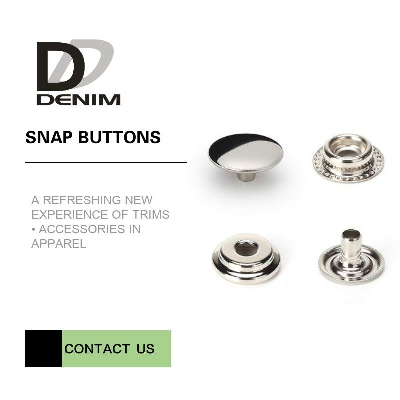 Overcoat Flat Silver Snap Buttons | Snap Closure Buttons 4 Parts Design Metal Cap Snap Fasteners supplier