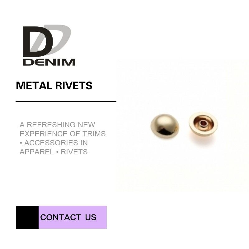 Gold Color High Performance Clothing Decorative Brass Rivets Good Chemical Resistance