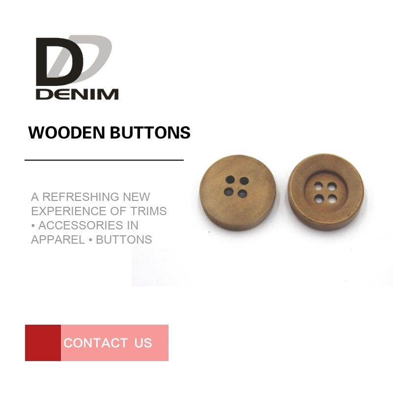 Natural Wood Color Coloured Wooden Buttons For Womens Blazer Coat supplier