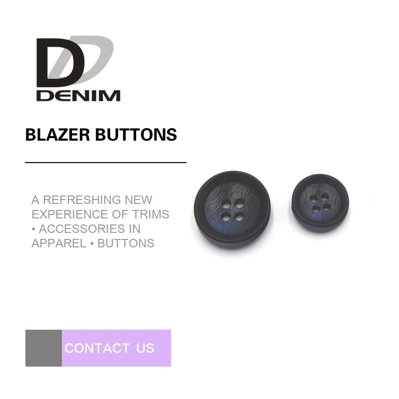 Navy Blue Black Personalized Blazer Buttons , Custom 4 Hole Plastic Button