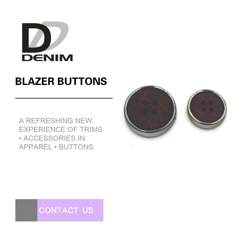 Fashion Round Blazer Coat Buttons With Silver Metal & Plastic Material Combination Button