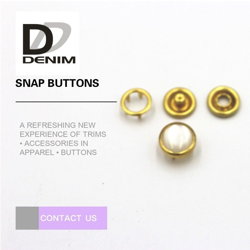 Gold Color Small Bulk Clothing Buttons Pearl Snap Fasteners Nickel Free supplier