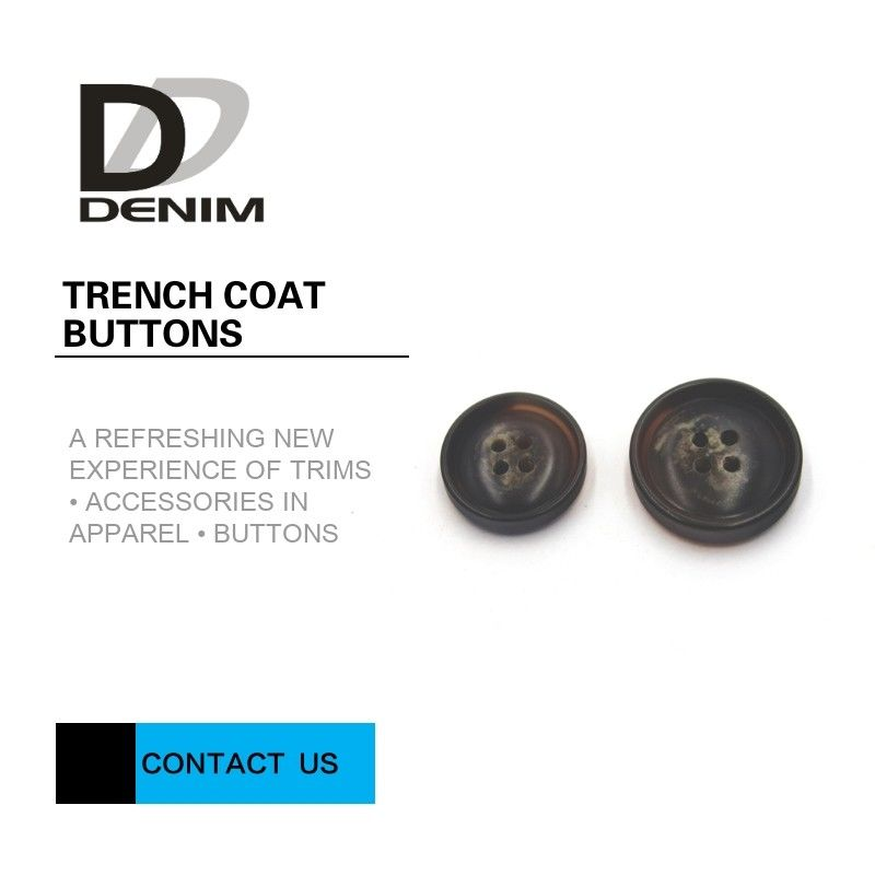 Professional DTM Design Trench Coat Buttons 4 Holes Customized Engraved Logo supplier