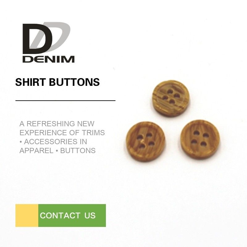 Khaki Color Dress Shirt Buttons With Built - In Fake Wood Environmental Friendly supplier