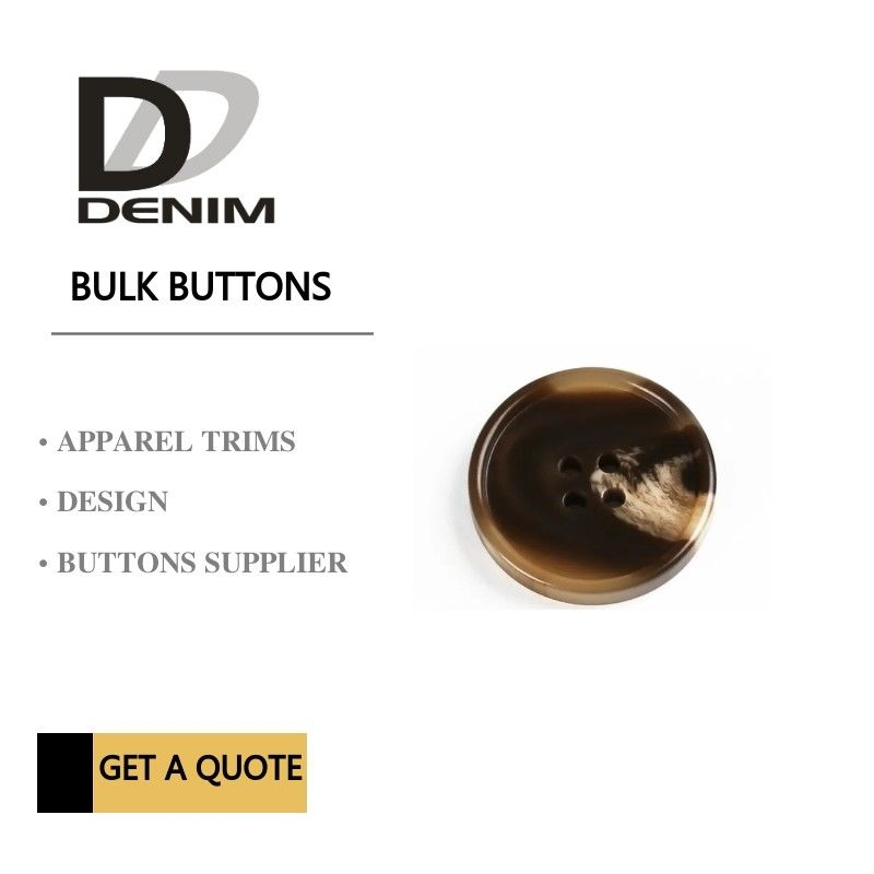 Brown & White Plastic Bulk Buttons 32L 2H / 4H Horn Color For Skirt
