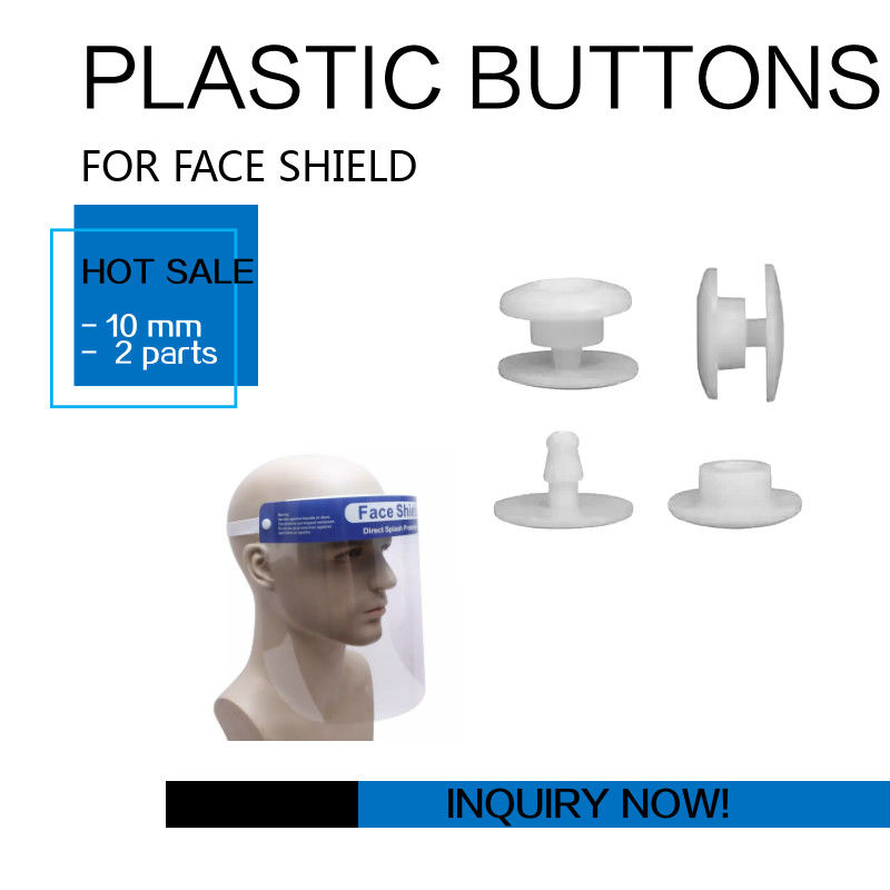 Face Shield Mask White Plastic Snap Button 10mm 2 Parts Certification CE FDA