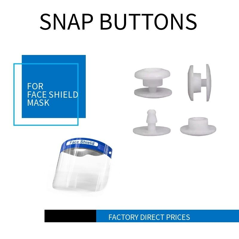 White Color European Standard Plastic Snap Fasteners For Face Shield Mask