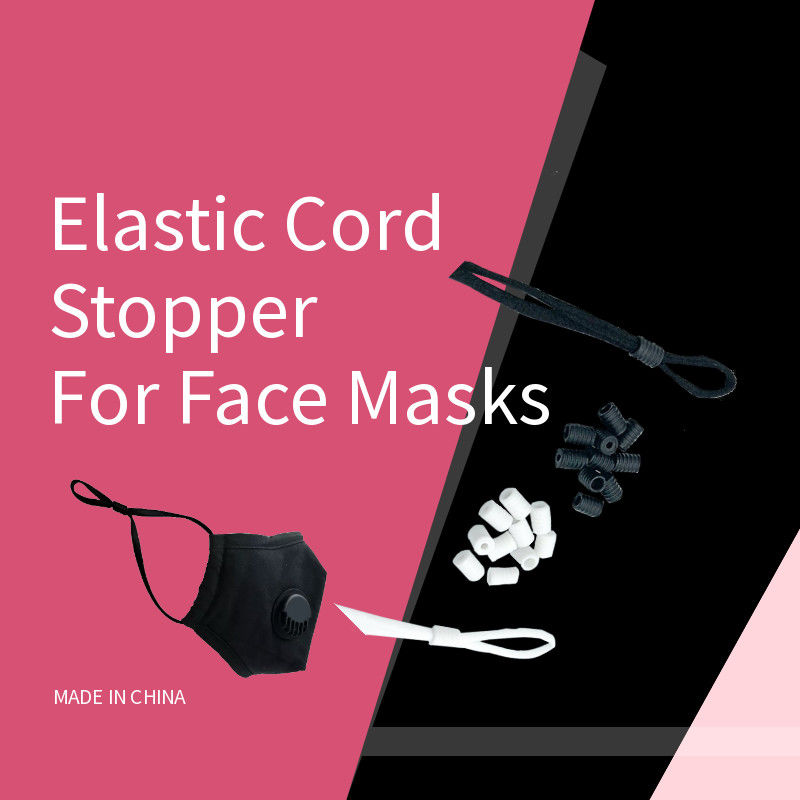 Face Masks Round Flat Shape Black Silicone Spiral 6mm Elastic Cord Stopper