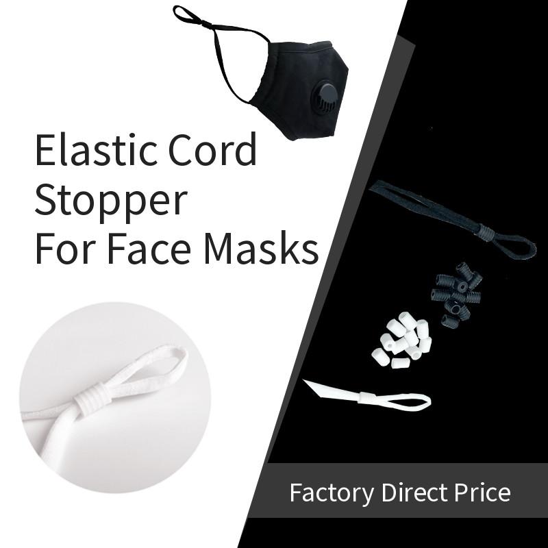 Face Masks Round Flat Shape Black Silicone Spiral 6mm Elastic