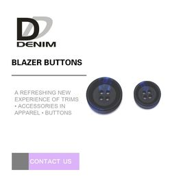 China Large Black And Blue Mens Blazer Buttons , Decorative Design 4 Hole Buttons factory
